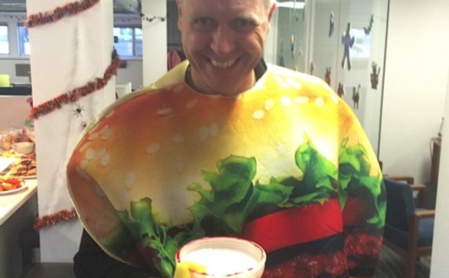 Clark in his hamburger costume.
